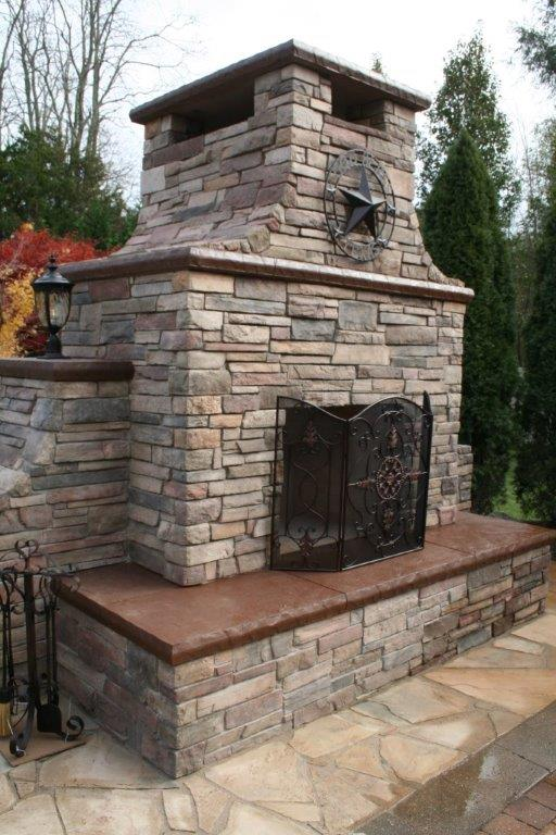 Stamped Concrete Fireplaces : Outdoor fireplace installation services in new jersey